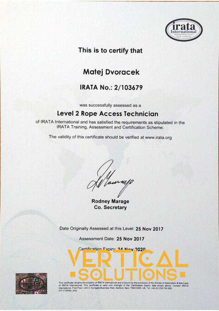 Irata 2 certifikát