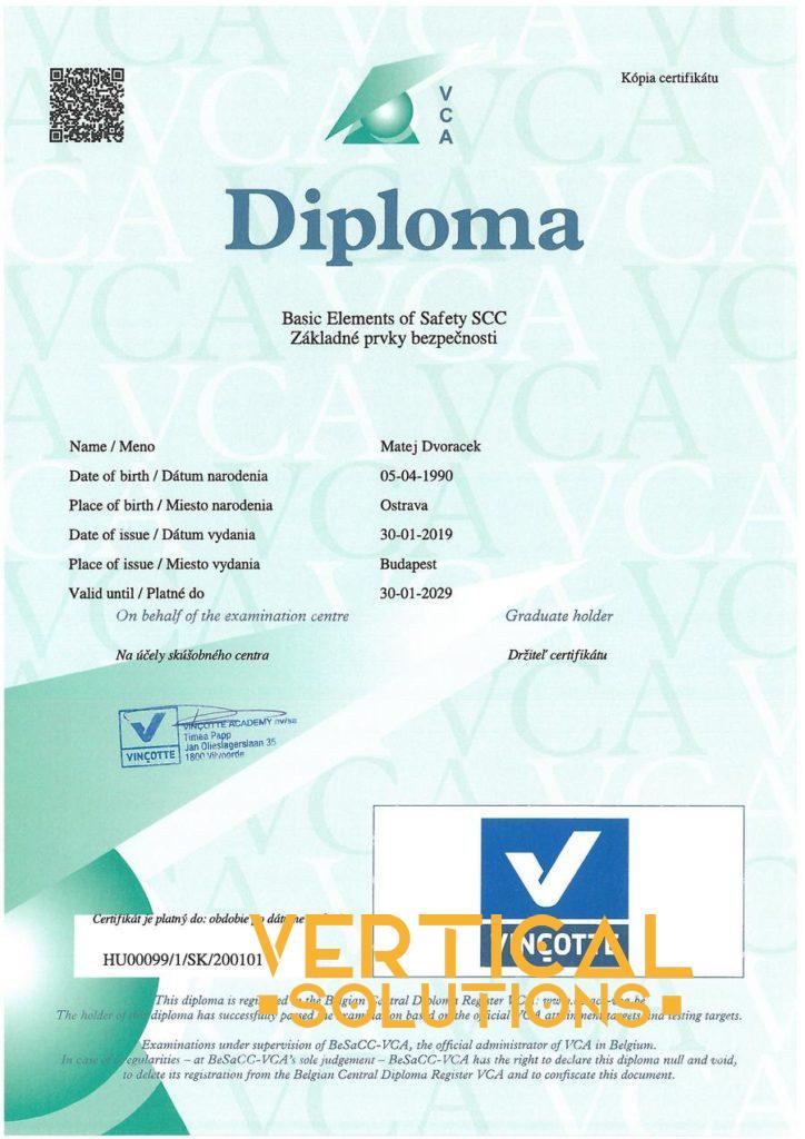 VCA certifikát