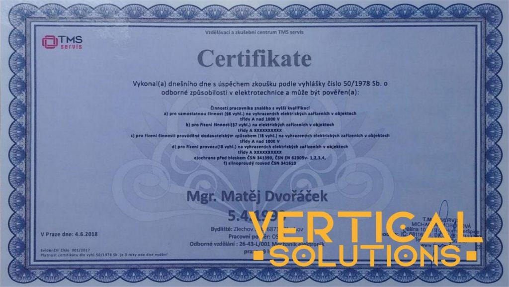 Certifikát - vyhl. 50 - silnoproud